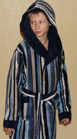 Детский махровый халат с капюшоном POLO синий (9-10 лет)