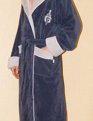 Халат мужской с капюшоном GLADIATOR (джинс)