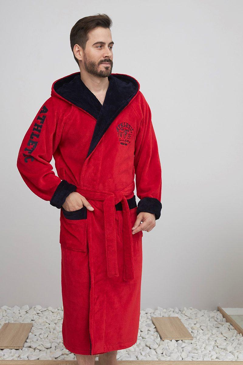 ATHLETIC (красный/синий) спортивный мужской халат из бамбука