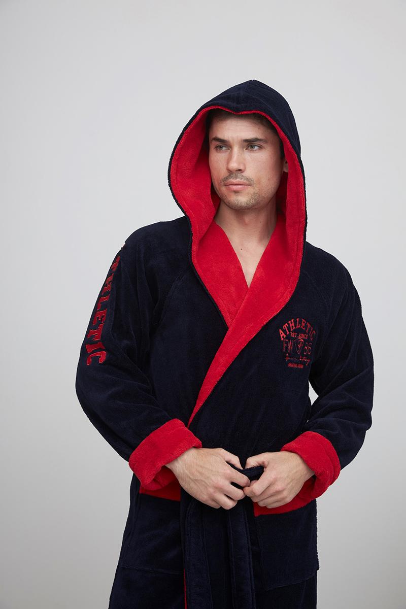 ATHLETIC (синий/красный) спортивный мужской халат из бамбука
