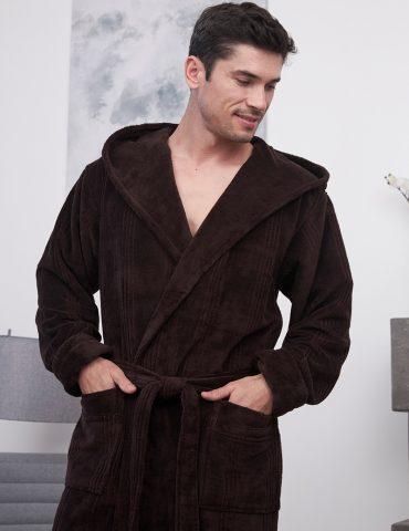 Coragio (chokolate) мужской бамбуковый халат с капюшоном