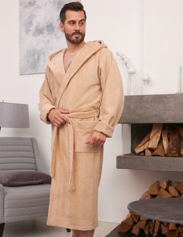 Coragio (latte) мужской бамбуковый халат с капюшоном