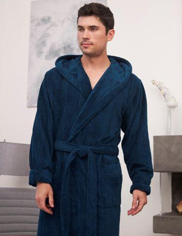 Coragio (petrol) мужской бамбуковый халат с капюшоном