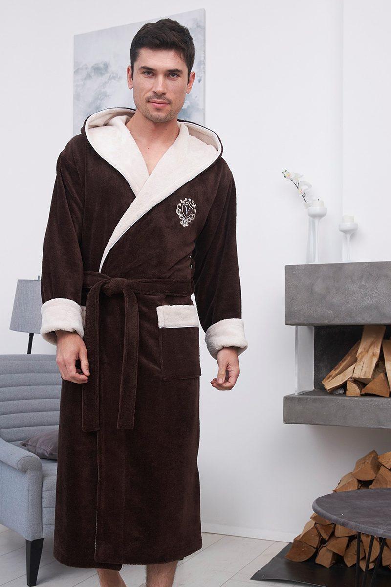 Lucas длинный (Mocaccino) мужской бамбуковый халат с капюшоном