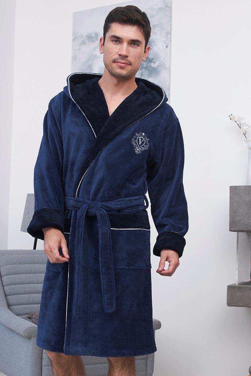Lucas короткий (Denim) мужской бамбуковый халат с капюшоном