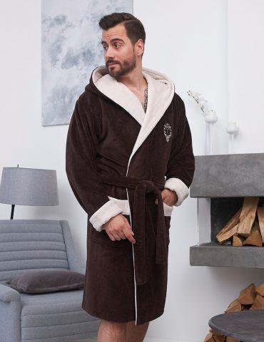 Lucas короткий (Mocaccino) мужской бамбуковый халат с капюшоном