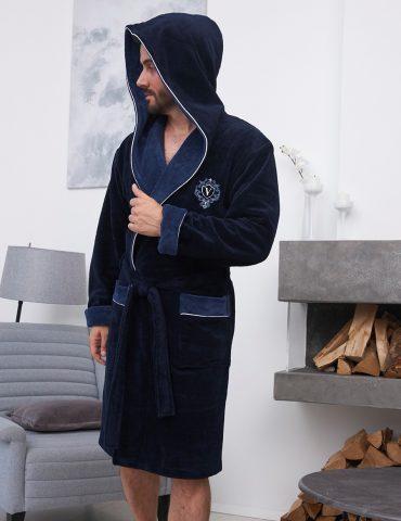 Lucas короткий (Navy) мужской бамбуковый халат с капюшоном
