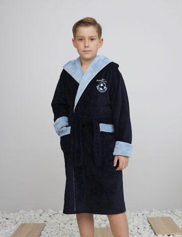 Ronaldo (Navy) подростковый бамбуковый халат