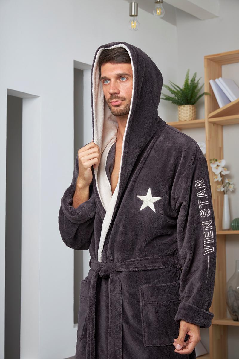 Vien Star (Anthracite) спортивный мужской халат из бамбука