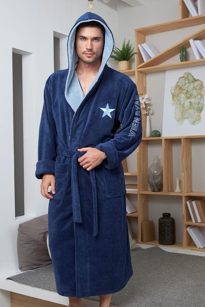 Vien Star (Denim) спортивный мужской халат из бамбука