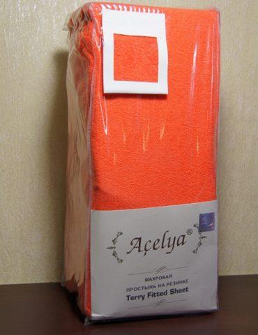 Простынь махровая нарезинке 2 сп. (220х240 см) оранжевая