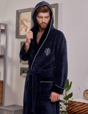Lucas длинный (Denim) мужской бамбуковый халат с капюшоном