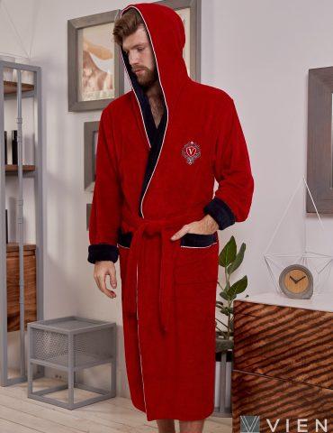 Lucas длинный (Red) мужской бамбуковый халат с капюшоном