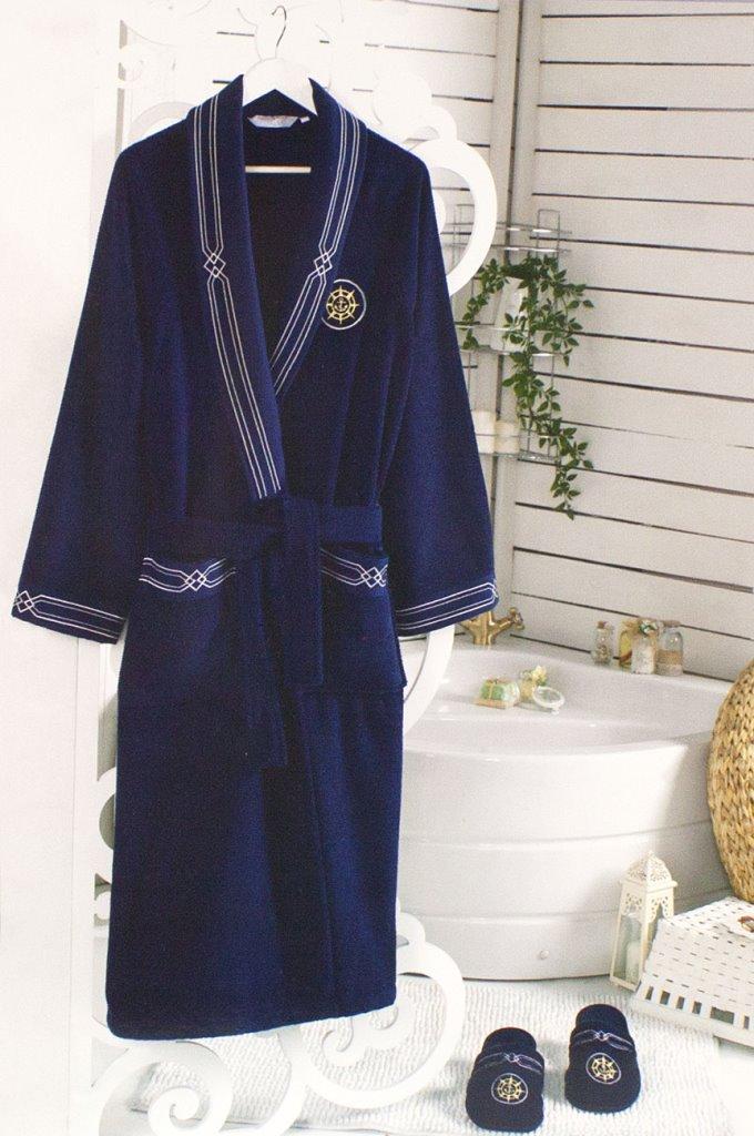 Махровый халат с тапочками ELEGANZE MARINE (синий)