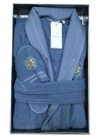 Махровый халат с тапочками ELEGANZE MARINE (голубой)