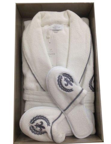 Махровый халат с тапочками SEYMOUR - СЕЙМУР (белый)