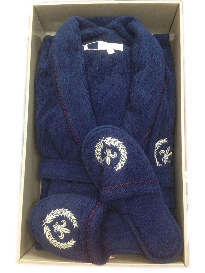 Махровый халат с тапочками SEYMOUR - СЕЙМУР (синий)