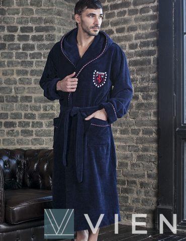 Мужской бамбуковый халат MILANO (Синий)