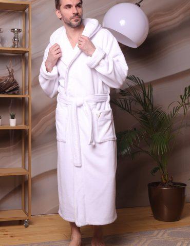 Мужской бамбуковый халат MILANO (белый)