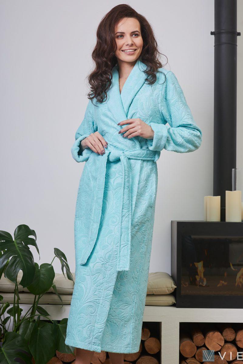Женский бамбуковый халат BELINDA (бирюза)