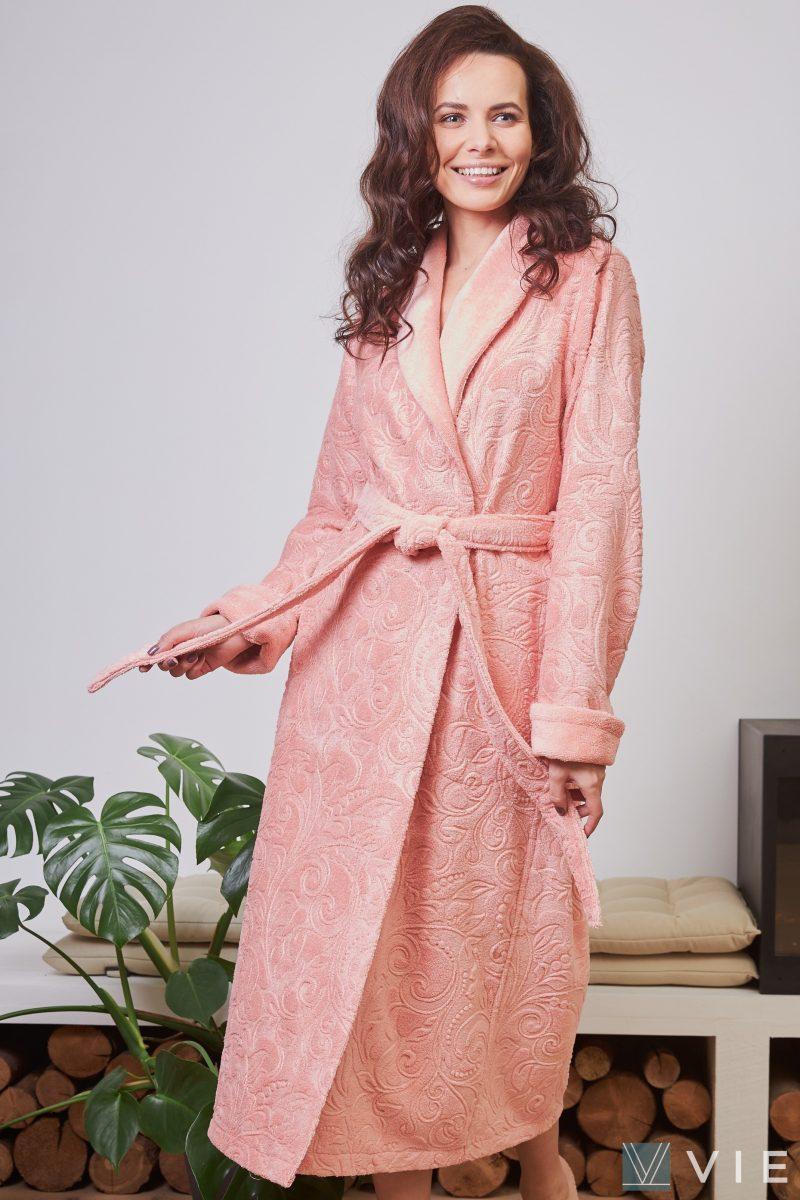Женский бамбуковый халат BELINDA (персик)