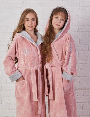 Подростковый махровый халат SPORT GIRL (Пудра)