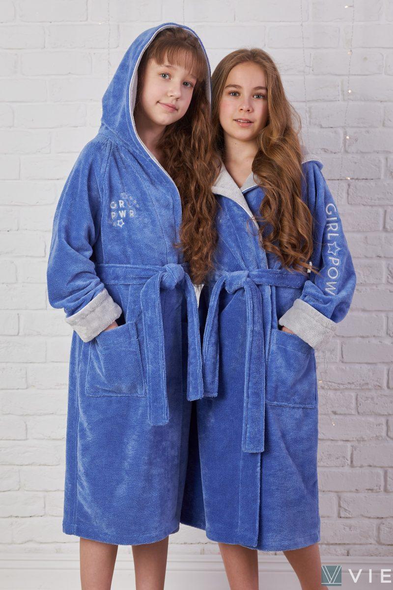 Подростковый махровый халат SPORT GIRL (Фиалка)