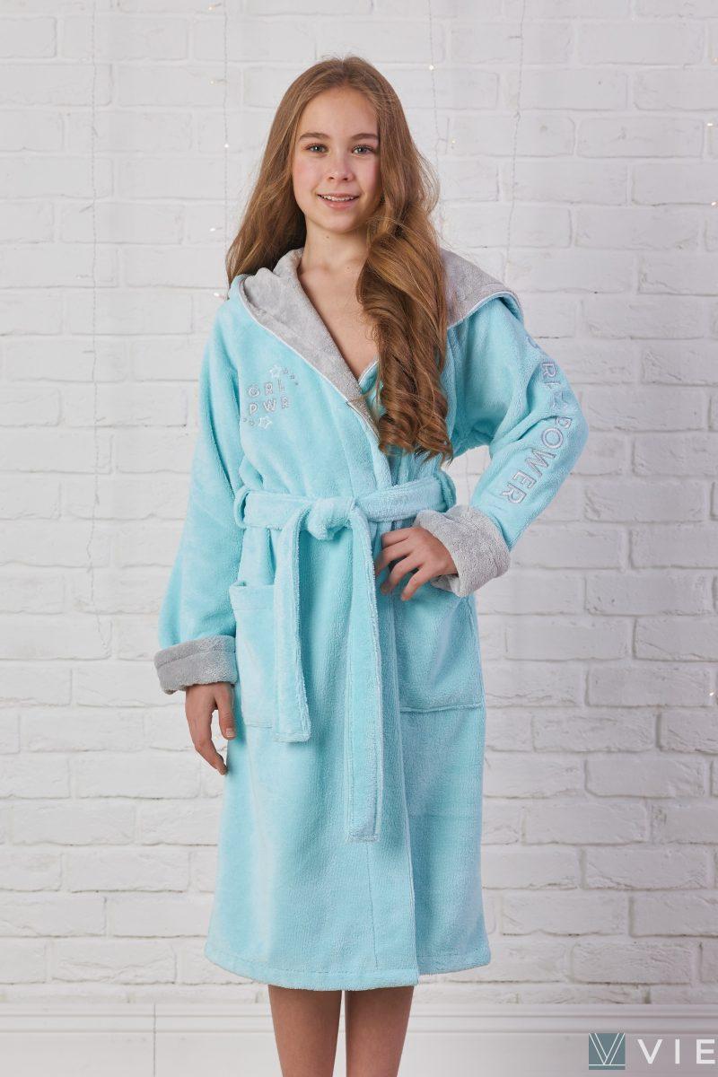 Подростковый махровый халат SPORT GIRL (Бирюза)