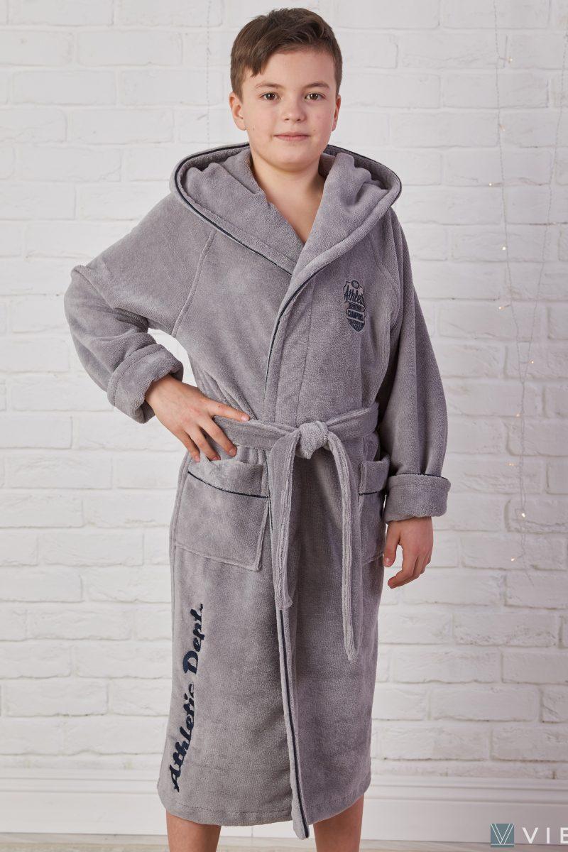 Подростковый махровый халат ATHLETIC DEPT (Grey)
