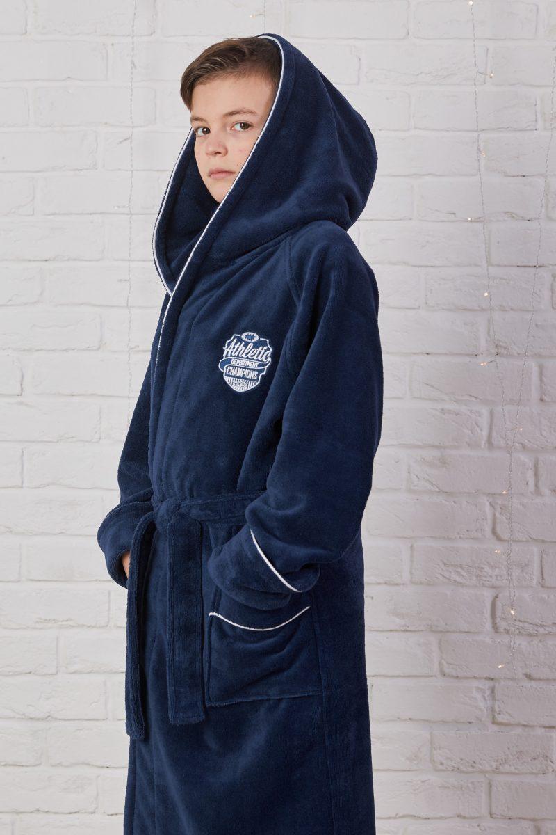 Подростковый махровый халат ATHLETIC DEPT (Denim)