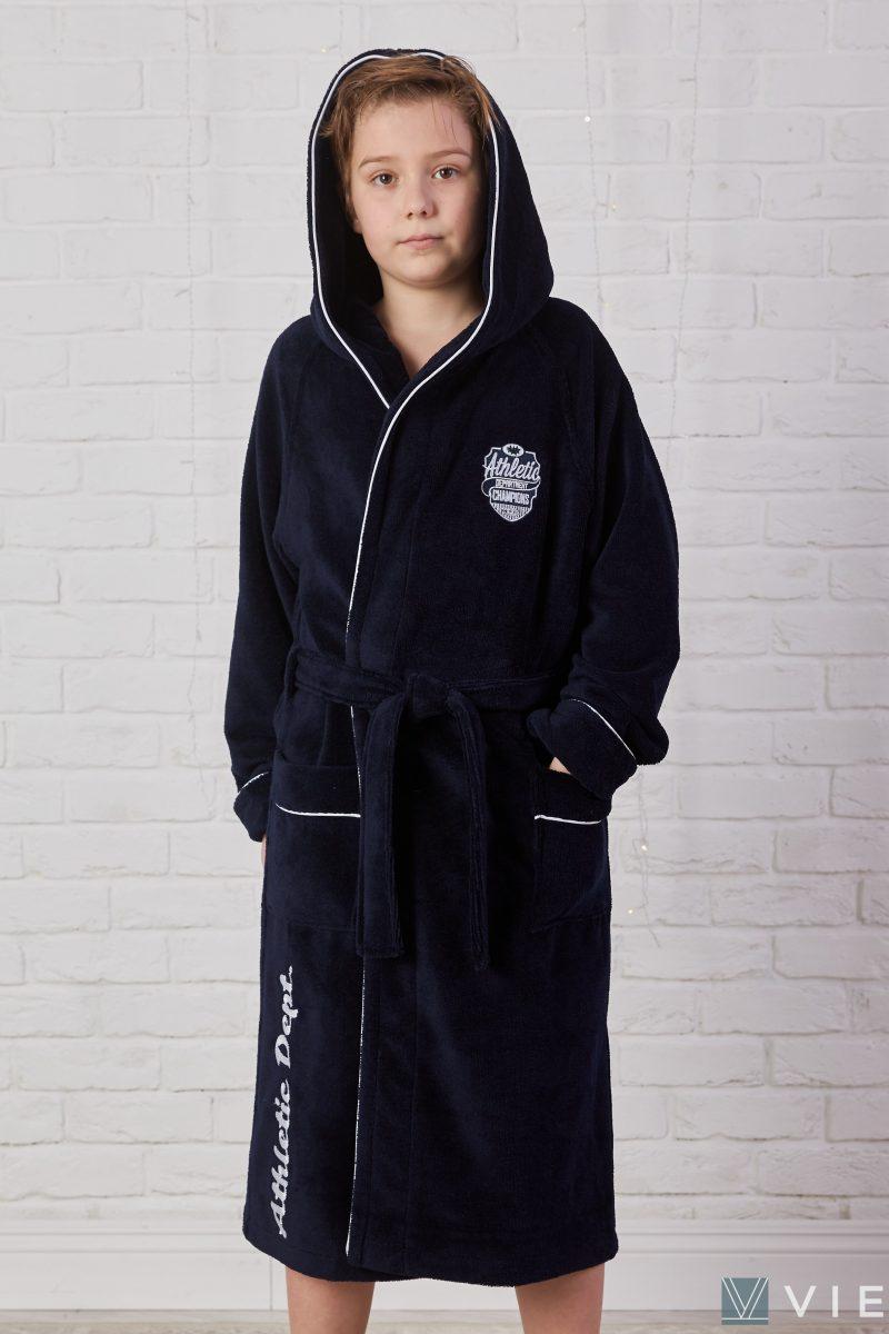 Подростковый махровый халат ATHLETIC DEPT (Navy)