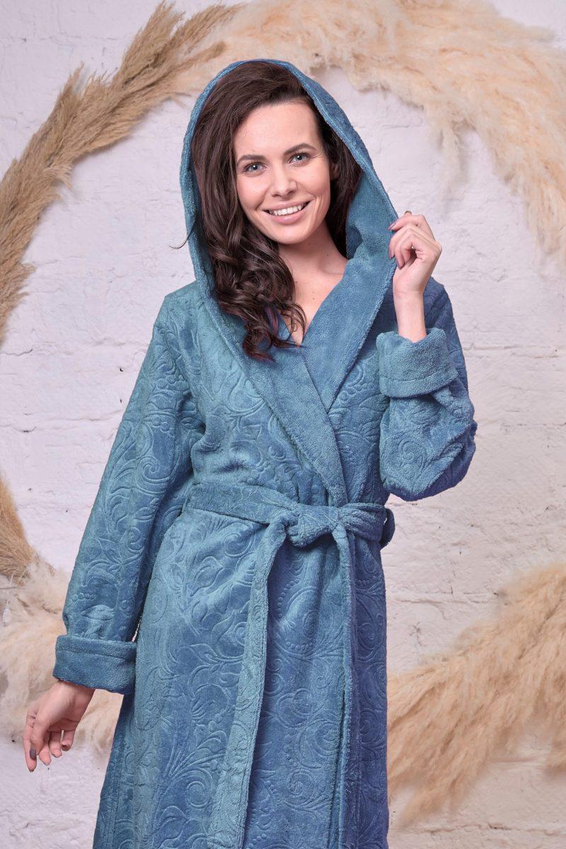 Женский бамбуковый халат с капюшоном BELINDA (малахит)