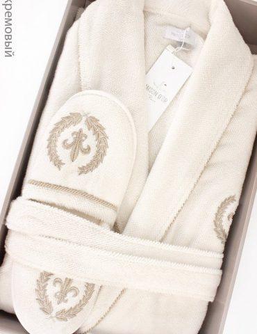 Махровый халат с тапочками SEYMOUR - СЕЙМУР (кремовый)