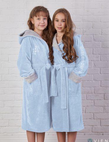 Подростковый махровый халат SPORT GIRL (Лазурь)