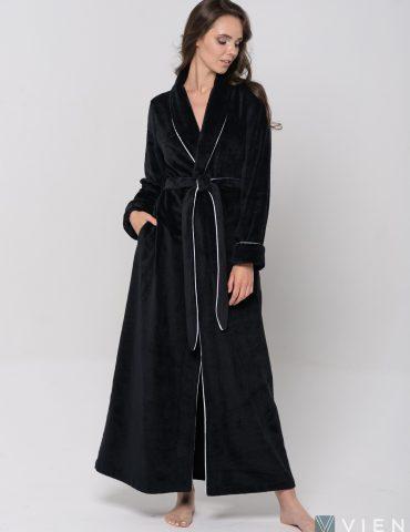 Женский махровый халат ELEGANCE LINE (Black)