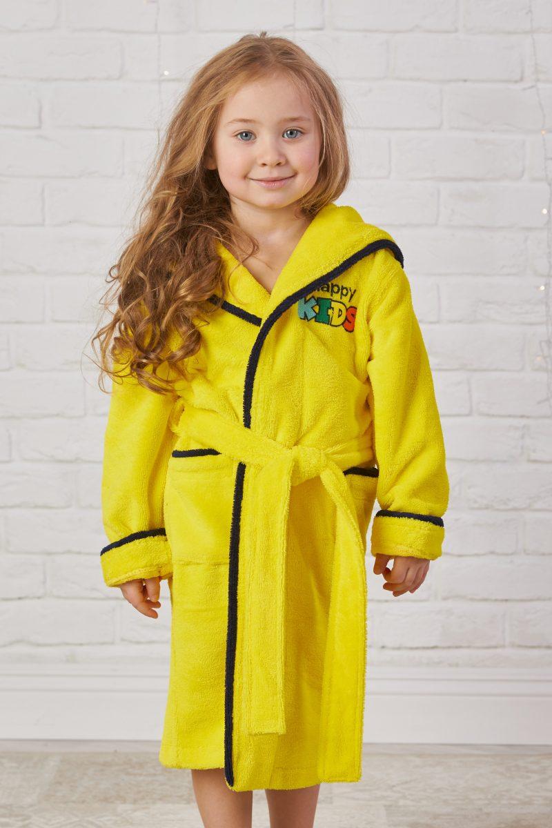 Детский велюровый халат Happy Kids (limon)