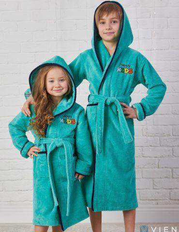 Детский велюровый халат Happy Kids (mint)