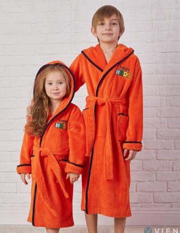 Детский велюровый халат Happy Kids (orange)