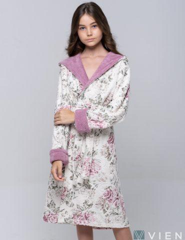 Подростковый махровый халат LITTLE MADONNA (light rose)