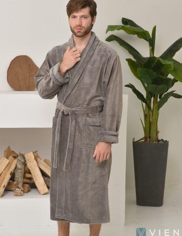 Daniel (дымчатый) классический бамбуковый халат