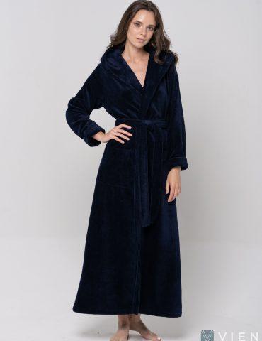 Длинный Женский махровый халат LADY (Navy)