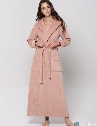 Длинный Женский махровый халат LADY (pudra)