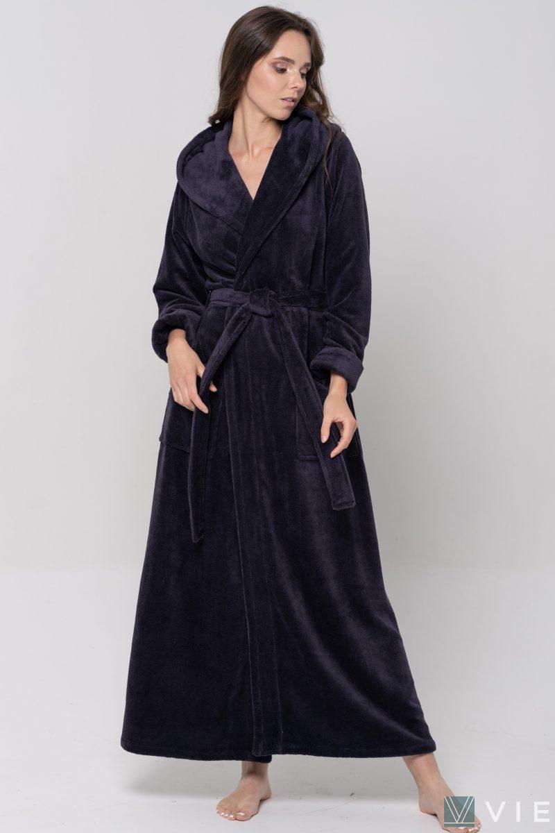 Длинный Женский махровый халат LADY (Sliva)