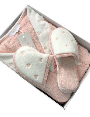 Женский длинный махровый халат LAVOINE HEARTS (грязно-розовый)