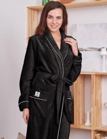 Женский махровый халат TRENDY (Black)