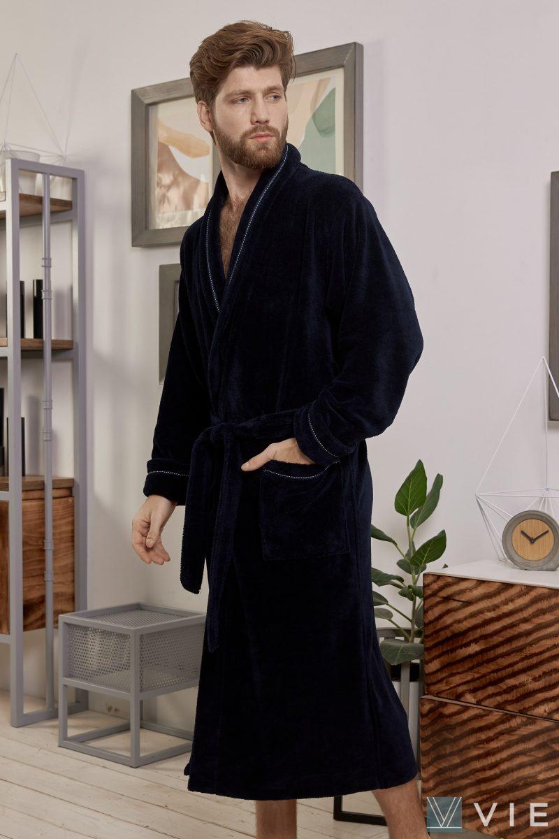 Daniel (синий) Большой классический бамбуковый халат