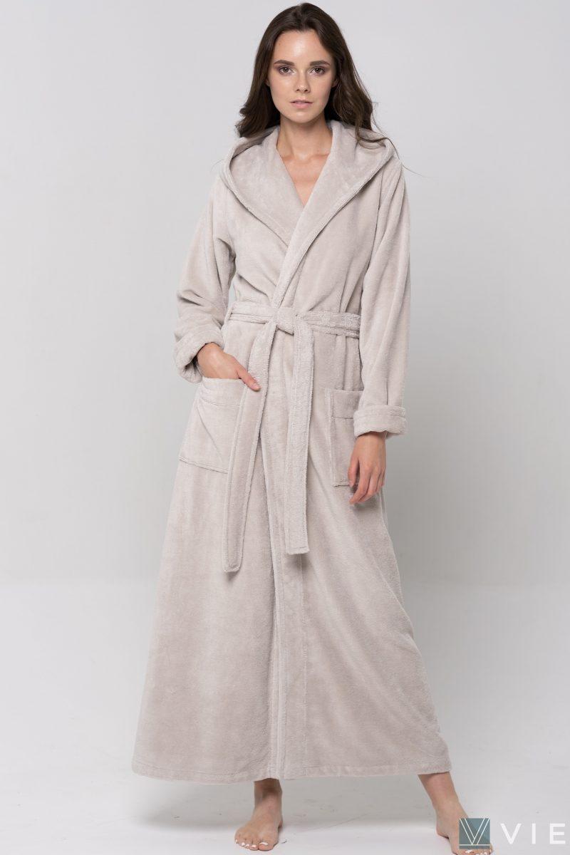 Длинный Женский махровый халат LADY (Latte)