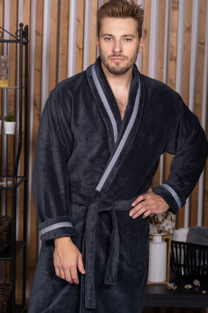 BARON (антрацит) мужской велюровый халат