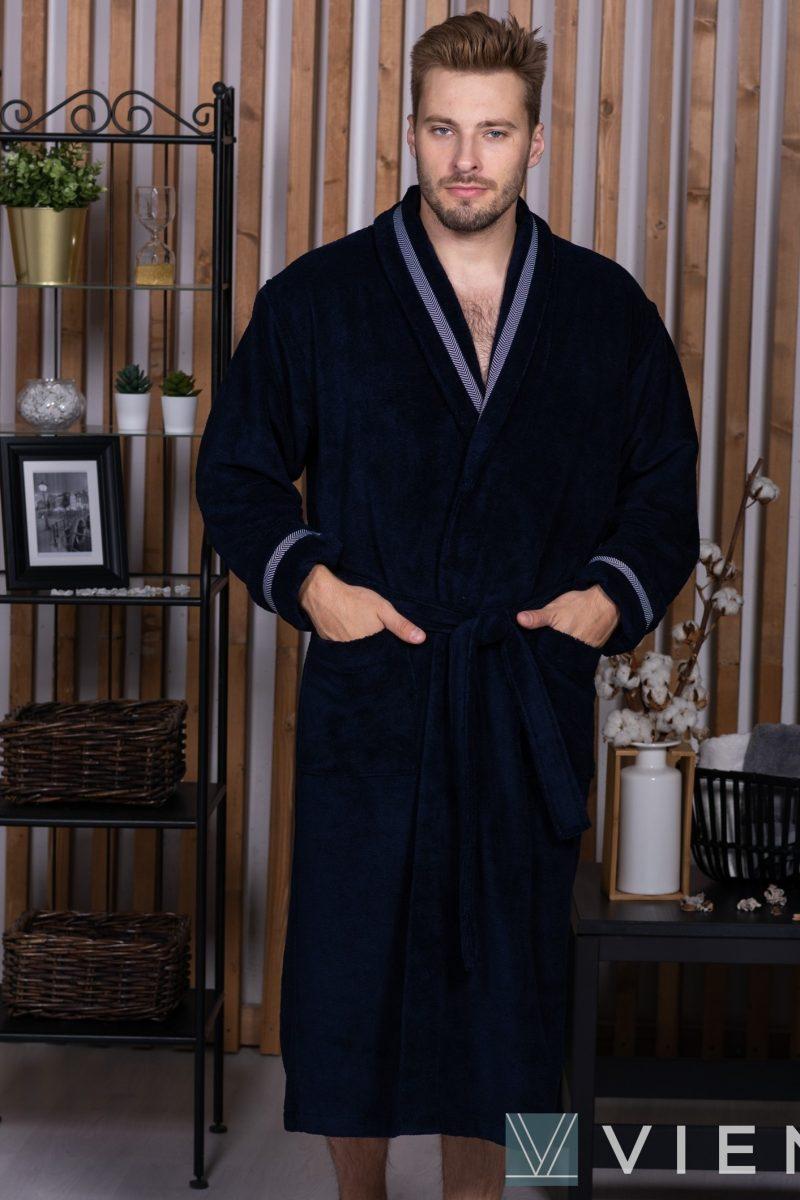 BARON (синий) мужской велюровый халат