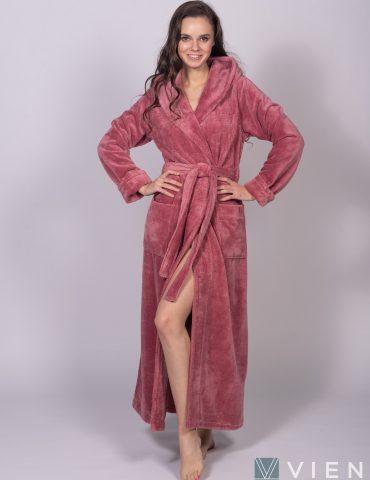 Длинный Женский махровый халат LADY (Old rose)